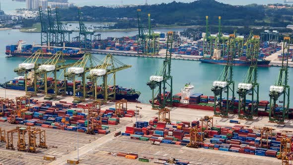 Thumbnail for Trading Port of Singapore with Containers Terminals and Merchat Ships Timelapse
