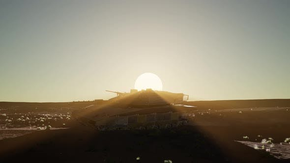 Thumbnail for Old Rusty Tank in the Desert at Sunset