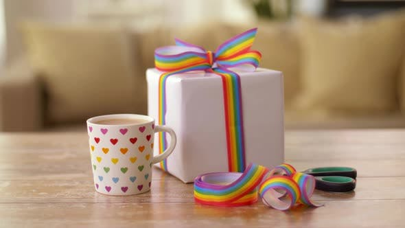 Coffee with Gift and Gay Pride Awareness Ribbon