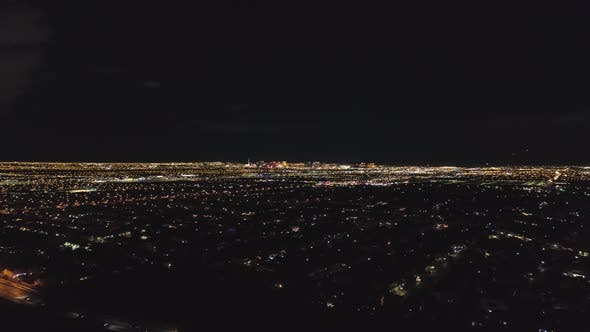 City of Las Vegas at Night. Nevada, USA. Aerial View