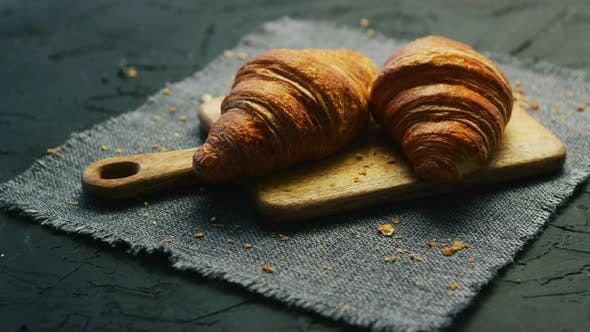Thumbnail for Fresh Croissants on Chopping Board