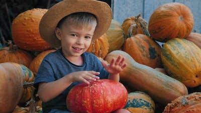 Little Boy Funny Drumming on a Pumpkin Like a Drum