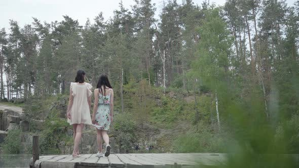 Thumbnail for Two Cute Young Women Wear Summer Dresses Standing in the Top of Rock and Looking at Nature