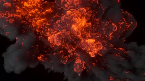 Ultra Realistic Fiery Explosion From a Bomb or Gas with Black Thick Smoke on an Isolated Black