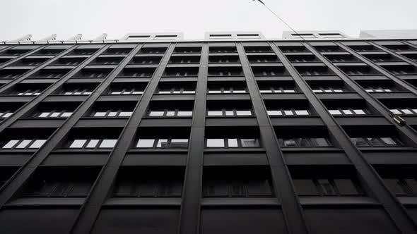 Cover Image for Facade of Modern Black Office Buildings in Stockholm City, Stedicam Shot