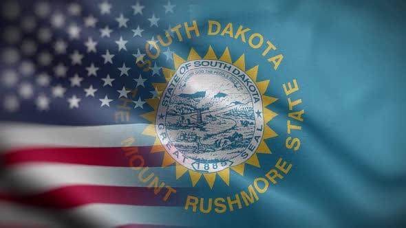 South Dakota State Usa Mixed Flag Front HD