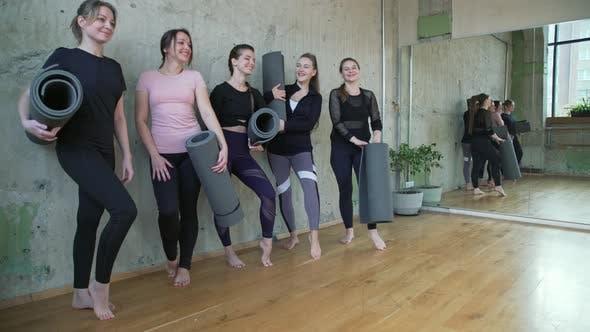 Group of Five Women Posing Mats.