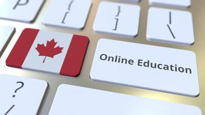 Online Education Text and Flag of Canada on the Buttons