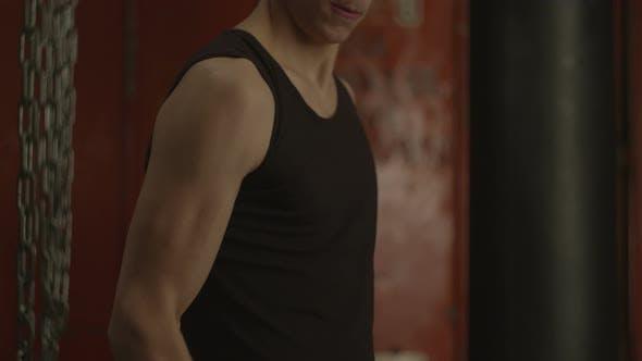 Thumbnail for Muscular Man Doing Dumbbell Exercise for Biceps