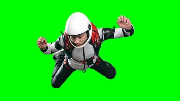 Professional Skydiver Flying in Mid Air Slowmo
