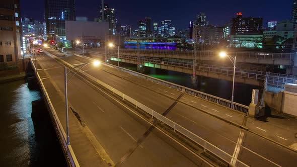 Osaka Night Road Lights City Traffic Timelapse