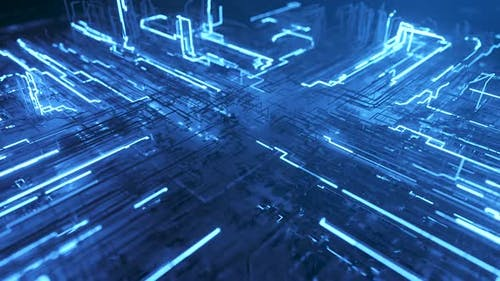 Abstract Technological Background From a Fiber Optic Glowing Beam Spreading in the Digital Space