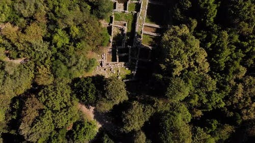 Drone View of Remains of Medieval Castle