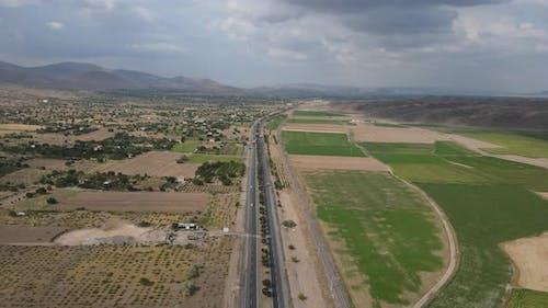 Highway Agriculture Railway Aerial Farmland