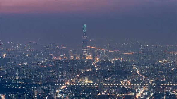 Thumbnail for Seoul, Korea, Timelapse  - The Lotte Tower from Day to Night as seen from Namhansanseong Fortress