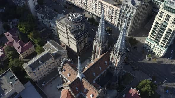 Top Drone View of Roman Catholic Church of St. Nicholas Also a National House of Organ and Chamber