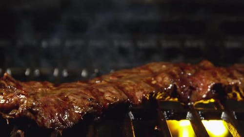 Flank Steak Or Skirt Steak Grilling With Fire 61