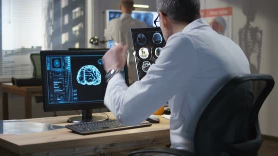 Doctor Analyzing X Ray and Brain Scan