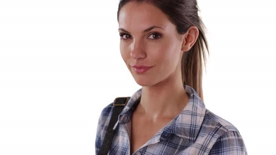 Thumbnail for Portrait of charming Caucasian woman in plaid shirt on solid white background