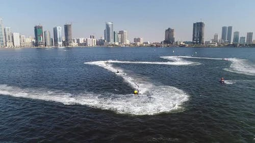 Aerial view of jet ski during the race in Khalid lake in Sharjah, U.A.E.
