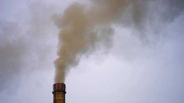 Smoking factory pipes. White smoke pours out of factory chimney in the air.