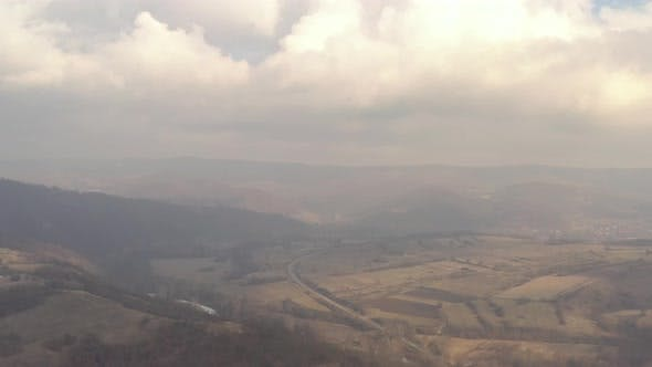 Thumbnail for Polluted air over the valley 4K aerial footage