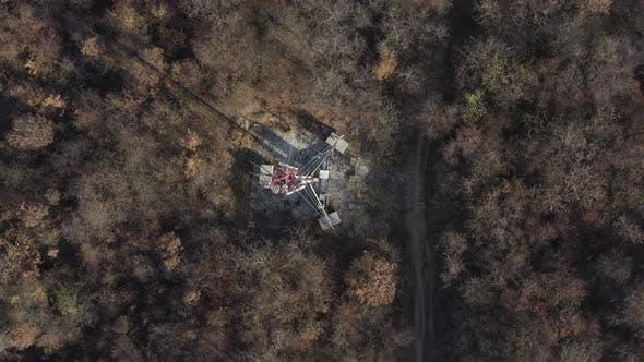 Telecommunication tower  4K aerial descending footage