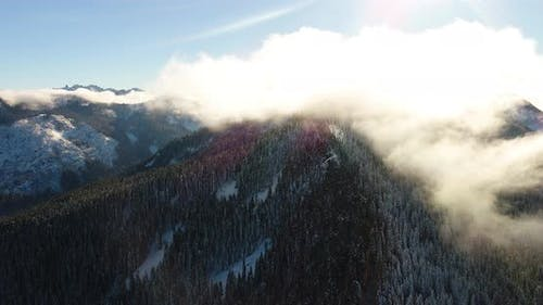 Fast Moving Clouds In Mountain Landscape Moving Fast Right Aerial Perspective Majestic Overlook