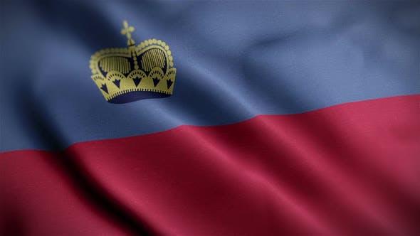 Thumbnail for Liechtenstein Flag Closeup Blowing In Wind
