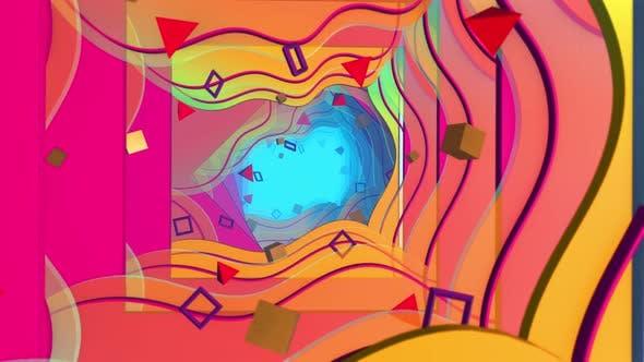 Flying In Geometry Flat Style 03 4K