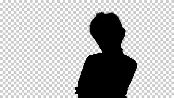 Thumbnail for Silhouette Little girl posing in different poses, Alpha Channel