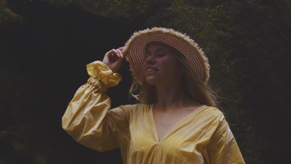 Thumbnail for Beautiful Blond Woman Awe Waterfall
