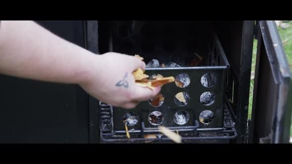 BBQ smoker with ribs inside - BBQ 001