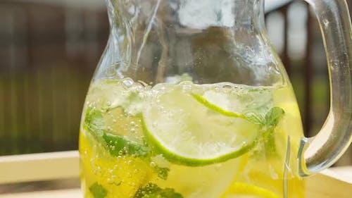 Homemade Lemonade In Glass Decanter