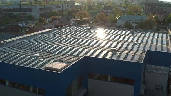 Thumbnail for Aerial Drone View. Warehouse with Solar Panelsthe, Sunny Batteries