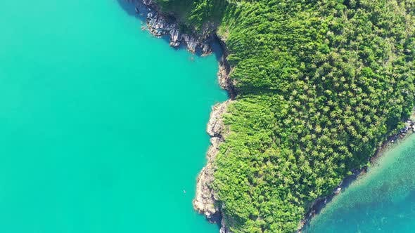 Thumbnail for Wide angle aerial tourism shot of a white sand paradise beach and blue ocean background in best quality