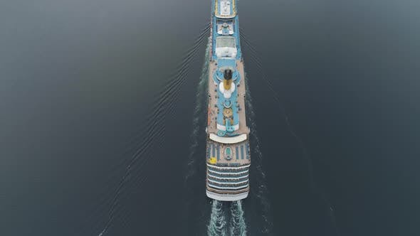 Thumbnail for Large Luxury Cruise Ship Is Going in Fjord of Norway. Aerial Vertical View. Reveal Shot