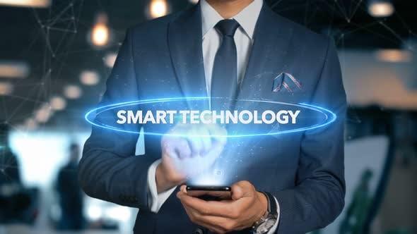Thumbnail for Businessman Smartphone Hologram Word   Smart Technology