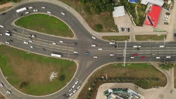 Thumbnail for View From the Copter, Cars Driving Along the Highway, Modern Road Junction. Ring Road, Aerial View