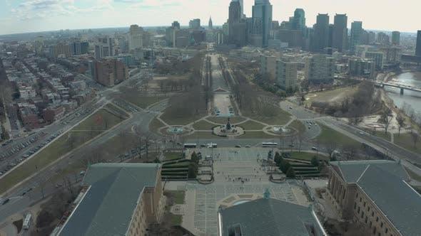 Drone Shot Descending Past Philadelphia Museum of Art and Washington Monument