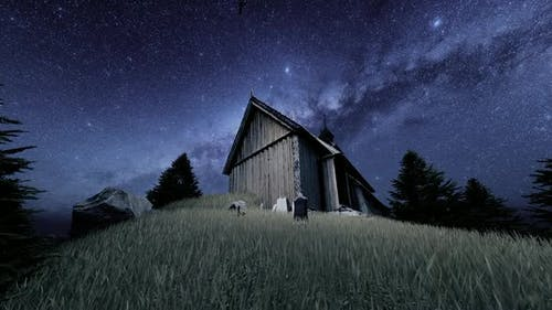 Wooden Chalet and Night Milky Way View