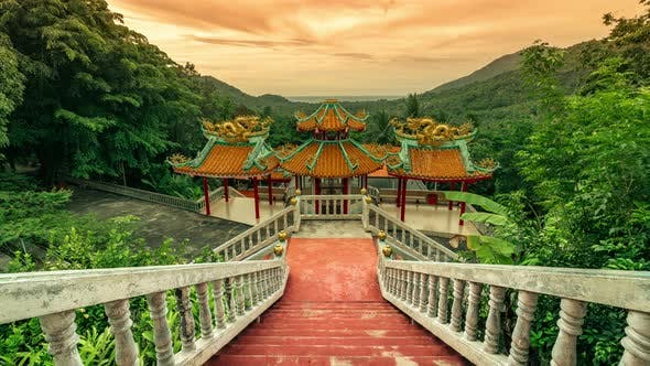 Thumbnail for Panorama Sunset of Chinese Temple on Koh Phangan Island, Thailand in a Summer Day