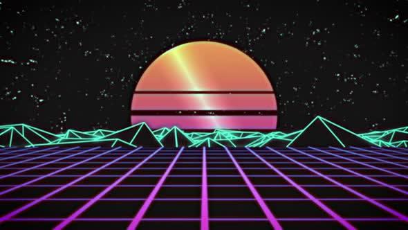 Thumbnail for Outrun Retro 80er Jahre Hintergrundschleife
