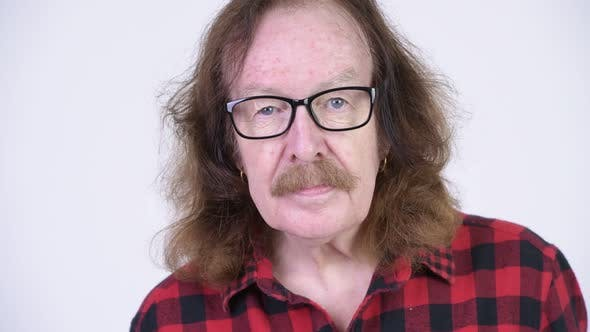 Thumbnail for Happy Senior Hipster Man with Mustache Wearing Eyeglasses