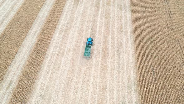 Thumbnail for Aerial Shot of Tractor with Trailer Moving Along Field During Harvesting. Drone Tracking