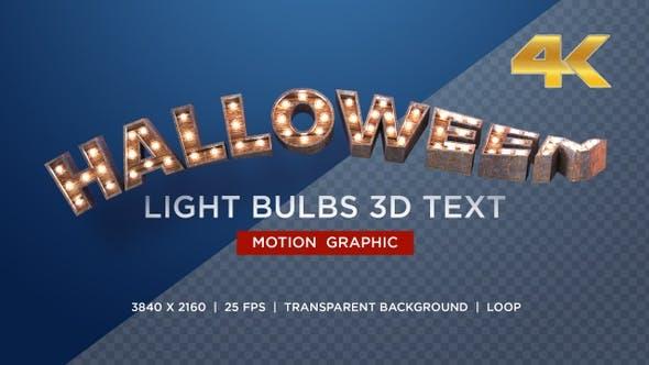 Halloween Glühbirnen 3D Text