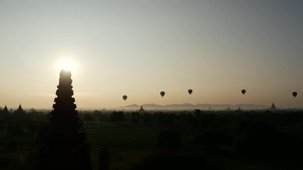 Time lapse from balloons flying during sunrise