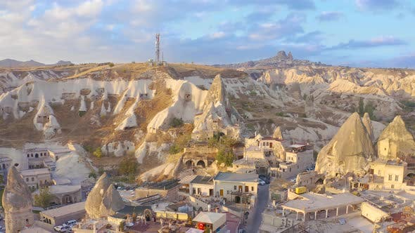 Famous cave hotels in Goreme valley on Cappadocia, Turkey