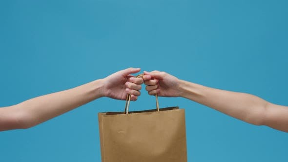 Young woman hand hold brown clear empty blank craft paper bag food for takeaway.
