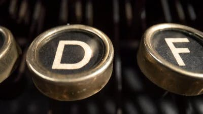 Panning Shot of Vintage Typewriter Keys
